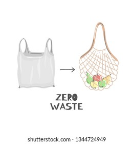 String bag instead of plastic. Zero waste lifestyle. Eco friendly. Save planet. Care of nature. Vegan. Go green. Refuse, reduce, reuse, recycle, rot. Wasteless technology. Vector illustration, eps10
