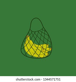 String bag, open netted bag. banch of bananas in the eco bag. flat cute vector illustration. Zero waste.