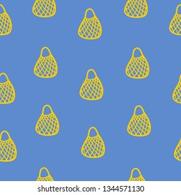 String bag, open netted bag. flat simple vector illustration. Yellow eco bag on the blue background. cute seamless pattern. zero waste lifestyle. plastic free package.