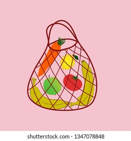 String bag, open netted bag. flat simple vector illustration. red eco bag on the pink background. Bag full of fruits and vegetables (tomato, lemon, carrot, banana, apple) Zero waste lifestyle.
