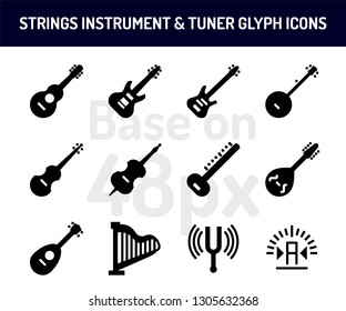 String instrument icon set. Solid icons  base on 48 pixel with pixel perfect. vector illustration