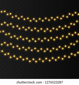 String lights isolated decoration on transparent background with realistic design. Romantic wedding garland. Glowing lights for Xmas Holiday cards, banners, posters, web design Vector illustration