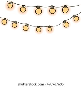 string of lights on a transparent background to create invitations, postcards, printed materials, design websites and blogs