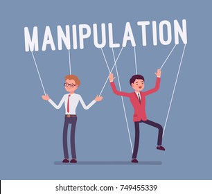 String manipulation puppet people. Controlling and using men unfairly or dishonestly under the influence, unfair business game. Vector flat style cartoon illustration isolated on blue background