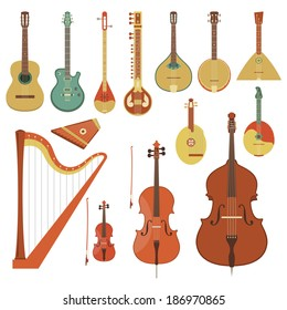 String musical instruments. Various classical orchestral musical instruments, guitars, traditional national musical instruments. Vector flat style illustration. Cartoon graphic design elements set