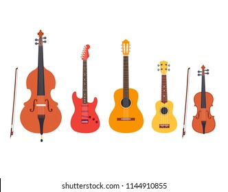 String musical instruments vector set. Double bass, electric guitar, acoustic guitar, ukulele, violin isolated on white background. Cute flat cartoon style. Vector illustration