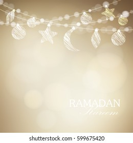 String with ornamental moon and bokeh lights. Golden festive vector illustration background. Card or invitation for muslim community holy month Ramadan Kareem.