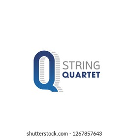 String quartet vector icon isolated on a white background. Concept of classic music, emblem for live music concert. Symbol fo musicians playing on instruments at scene of theater opera