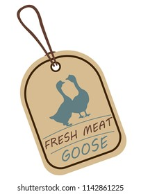 String tag, meat label. Label with illustration of goose. Price list for goose meat. Meat tag with goose image