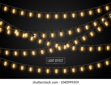 String wired christmas glowing lights in celebration and carnival concept.Vector eps10.