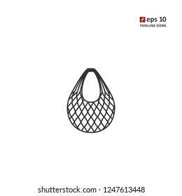 String-bag - vector thin line icon on white background. Symbol for web, infographics, print design and mobile UX/UI kit. Vector illustration, EPS10.