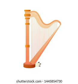 Stringed musical instruments, harp. Design layout for banners presentations, flyers, posters and invitations. Vector illustration
