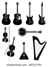stringed musical instruments stock black outline silhouette vector illustration isolated on white background