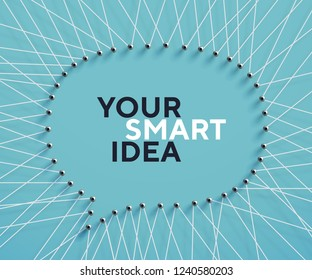 A lot of strings making the shape of a speech bubble. Creative frame for your design, realistic vector string art. Threads and nails illustration.