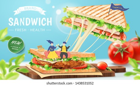 Stringy cheese chicken sandwich ads with lovely couple on chopping board, 3d illustration