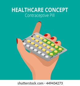 Strip of 28 Contraceptive Pill. Flat 3d vector isometric illustration. Health care concept. Take pills