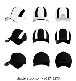 Strip baseball cap black color with colored mesh and adjustable rubber strap isolated vector set