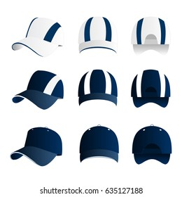 Strip baseball cap blue color with colored mesh and adjustable rubber strap isolated vector set
