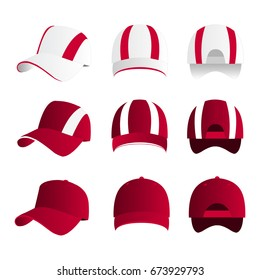 Strip baseball cap hot pink color with colored mesh and adjustable rubber strap isolated vector set