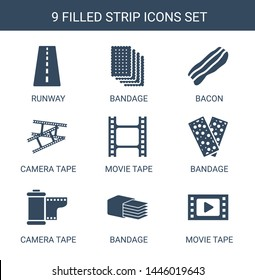 strip icons. Trendy 9 strip icons. Contain icons such as runway, bandage, bacon, camera tape, movie tape. strip icon for web and mobile.