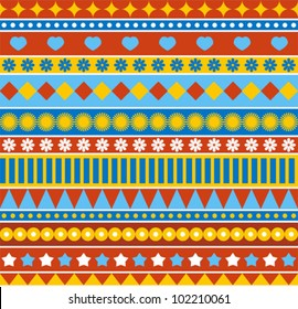 Strip seamless pattern in style of 70ies. Vector retro background.