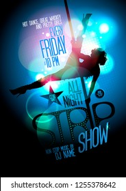 Strip show poster design with a slim stripper woman silhouette with pylon