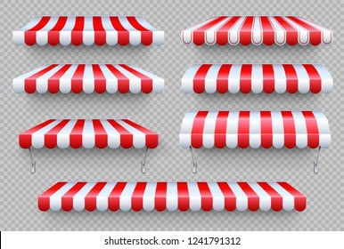 Stripe awning. Cafe tent, shop roof. Canopy sunshade for store window, outdoor market awnings vector isolated set