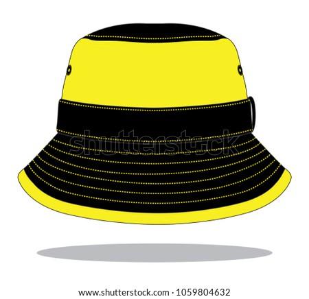 8ee515043b5ba Stripe Bucket Hat Design Yellow Black Stock Vector (Royalty Free ...