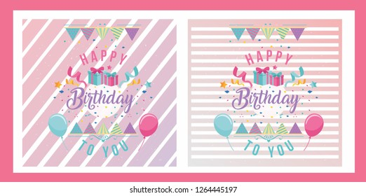 stripe design for happy birthday's invitation card