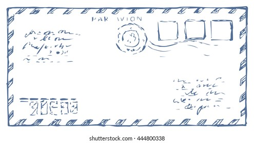 Stripe envelope isolated on white backdrop. Freehand outline ink hand drawn picture sketchy in art scribble retro graphic style. Closeup front view with space for text