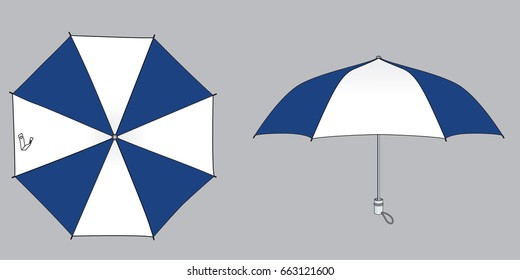Stripe Foldable Umbrella Design Navy-White Of Top and Side View.