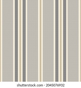 Stripe pattern with herringbone texture in gold brown, beige, black. Seamless dark vertical stripes background for dress, trousers, upholstery, other modern autumn winter fashion fabric design.