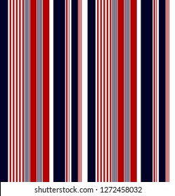 Stripe pattern with navy blue,red and white colors vertical parallel stripes.vector stripe pattern background.