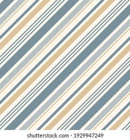 Stripe pattern textured graphic in blue, gold, off white Seamless diagonal herringbone lines background for spring, summer, autumn dress, skirt, shirt, pyjamas, or other modern fashion textile print.