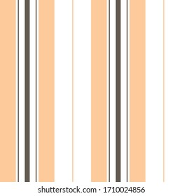 Stripe pattern vector. Seamless vertical lines in brown, soft orange, and white for dress, trousers, shorts, or other modern fashion or home textile print.