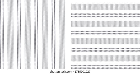Stripe patterns in grey and white. Geometric herringbone textured vertical and horizontal lines for dress, shirt, or other modern spring and summer textile print.
