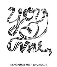 stripe ribbon forming text illustration