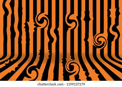 Stripe room in black and orange design for Halloween card background. Vector illustration.