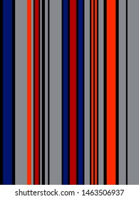 Stripe seamless pattern with Blue, Red, Black, Orange and grey colors vertical parallel stripes.Vector abstract background.