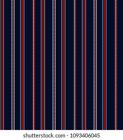 Stripe seamless pattern. with navy blue and red vertical parallel stripes. Vector pattern stripe abstract background.