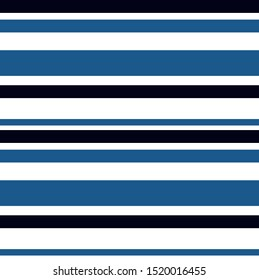 Stripe seamless pattern with Navy blue, Blue and White horizontal parallel stripe.Vector abstract background.