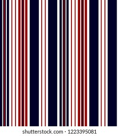 Stripe seamless pattern with navy blue,red and white vertical parallel stripe.Vector pattern stripe abstract background.