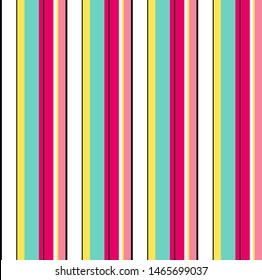 Stripe seamless pattern with pink, yellow, blue, black and white colors vertical parallel stripes.Vector stripe pattern abstract background.Summer concept.