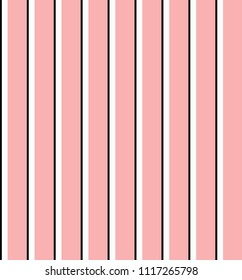 Stripe seamless pattern with pink,white and black vertical parallel stripe.Abstract background.