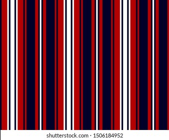 Stripe seamless pattern with Red, Navy blue and white colors vertical parallel stripes.Vector stripe pattern abstract background.