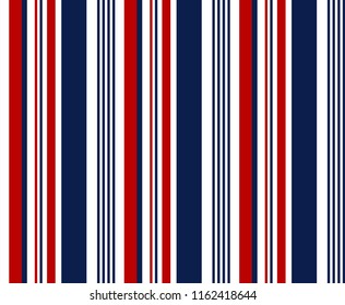 Stripe seamless pattern with red,blue and white vertical parallel stripe.Vector abstract background.