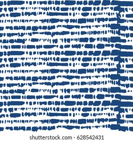 Stripe seamless tie dye indigo pattern in vector. Shibori blue design
