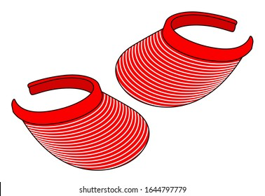 Stripe Sun Visor Cap Design Vector With Red/White Colors.