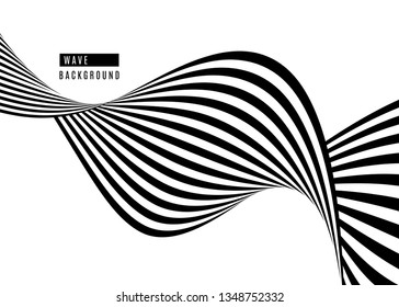 Stripe wave background design with black and white lines. 3d optical op art. Vector illustration.