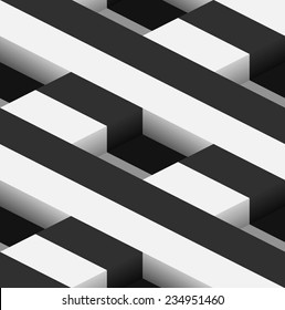 Striped 3D Square Holes Vector Seamless Pattern Background